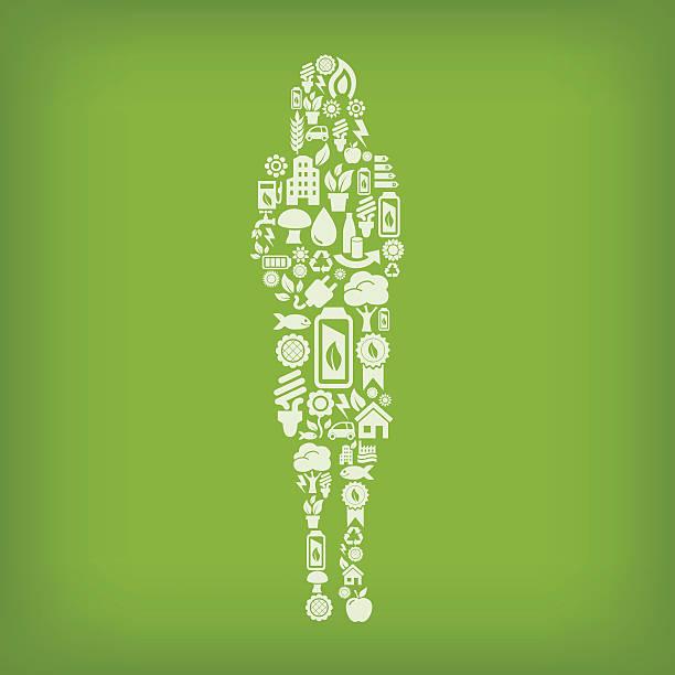 geschäftsmann frau aus ökologie-symbole auf grünem hintergrund - kabelskulpturen stock-grafiken, -clipart, -cartoons und -symbole