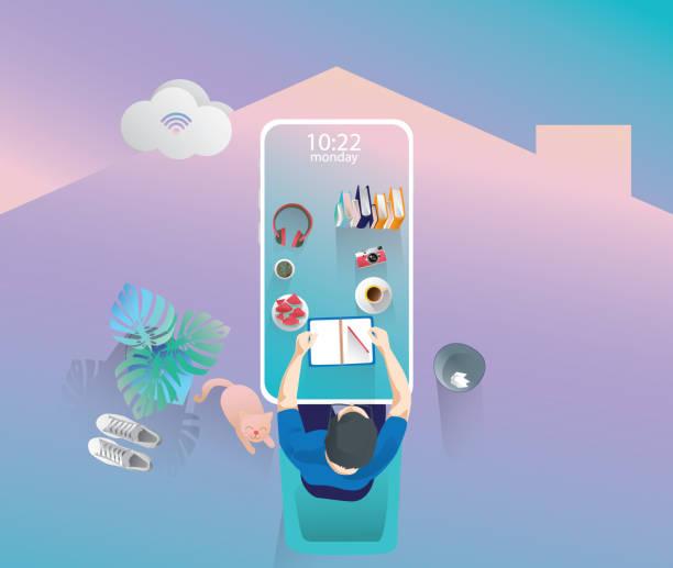 geschäftsmann arbeiten zu hause durch handy-haft, top-ansicht von großen mock-up-smartphone, internet wi-fi, fernarbeit, während einer pandemie des coronavirus. arbeit von zu hause konzept vektor-illustration - smartphone mit corona app stock-grafiken, -clipart, -cartoons und -symbole