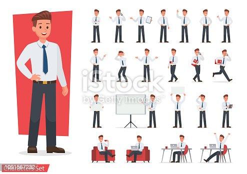 istock Businessman working character design set. Vector design. 1091567232