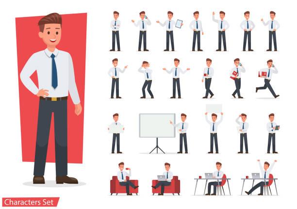 ilustrações, clipart, desenhos animados e ícones de empresário personagem desenho de conjunto de trabalho. desenho vetorial. - business man