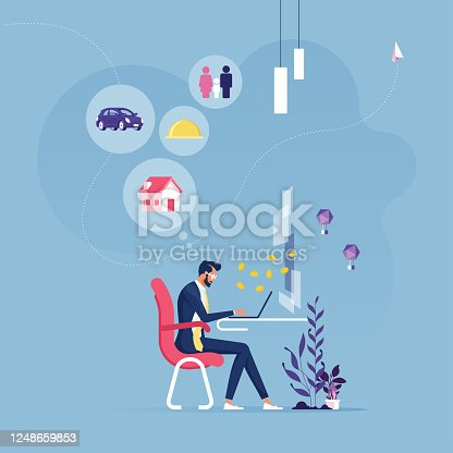 istock Businessman working hard with many representing to paying 1248659853
