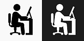 istock Businessman Working Icon on Black and White Vector Backgrounds 831216322