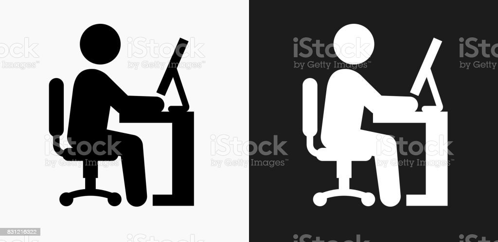 Businessman Working Icon on Black and White Vector Backgrounds vector art illustration