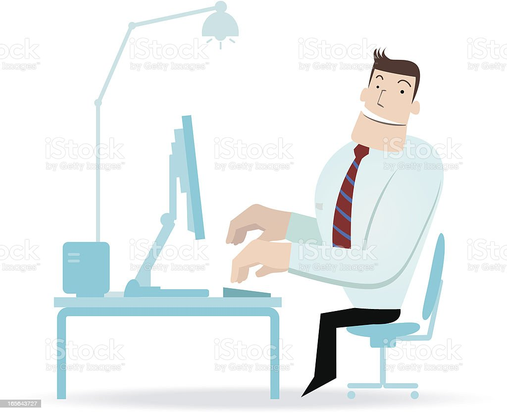 Businessman working in front of a computer ( work satisfaction ) royalty-free stock vector art