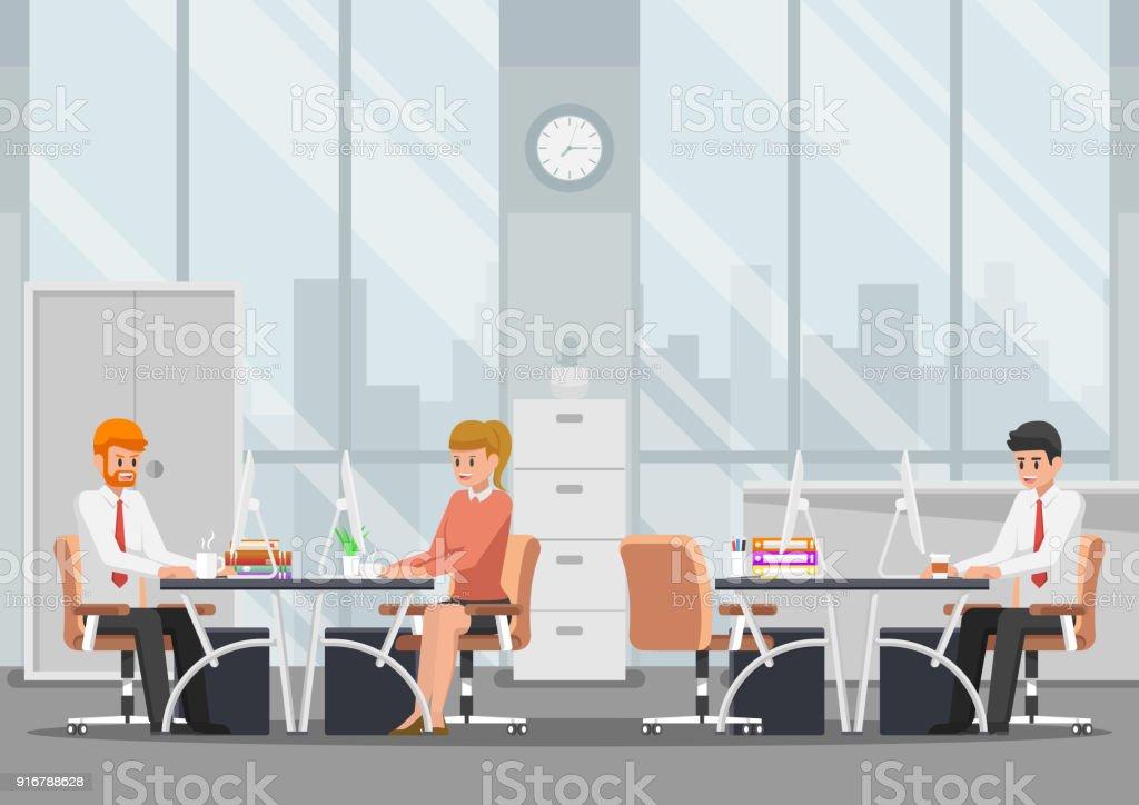 Homme daffaires travaillant dans les bureaux modernes u cliparts