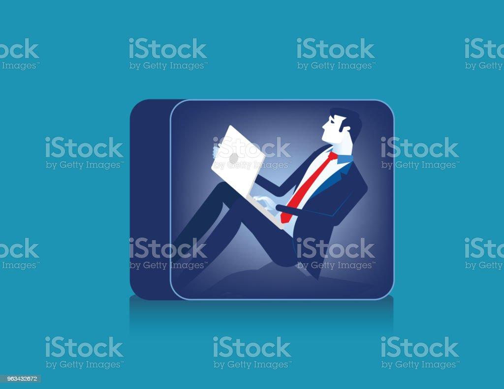 Homme d'affaires travaillant à étroit. Illustration vectorielle de concept business caractère. - clipart vectoriel de Abstrait libre de droits