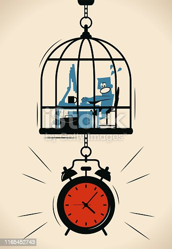 Blue Little Guy Characters Full Length Vector art illustration. Businessman working in the birdcage (cage) locked in a big alarm clock, Time management concept.