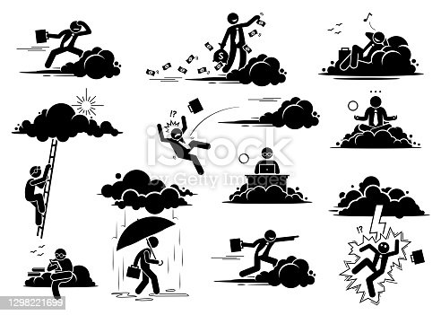 istock Businessman working in the cloud or sky. 1298221699