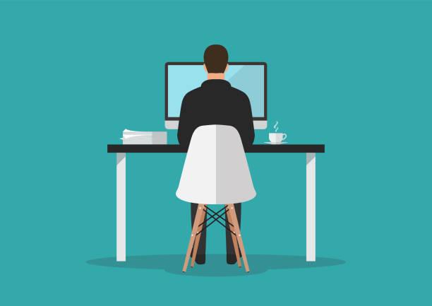 ilustrações, clipart, desenhos animados e ícones de homem de negócios que trabalha no computador no escritório - carteira