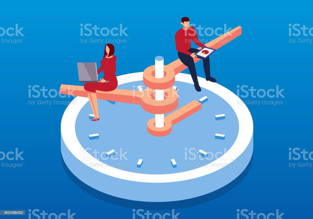Businessman working on isometric clock vector art illustration