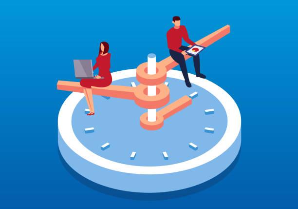 ilustraciones, imágenes clip art, dibujos animados e iconos de stock de hombre de negocios trabajando en isométrica reloj - trabajar hasta tarde