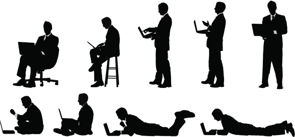 Businessman working on laptop sitting standing and lying down