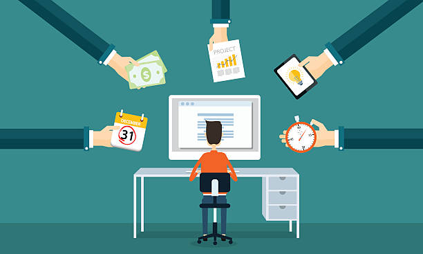 businessman working on line from order - small business stock illustrations