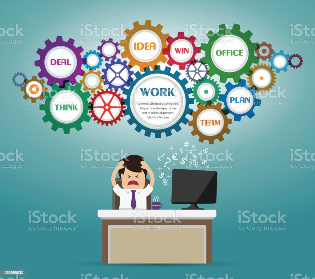 Businessman working on office and stress emotion royalty-free businessman working on office and stress emotion stock vector art & more images of accidents and disasters