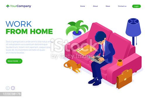 businessman working remotely from home. man sits at sofa and working on laptop. manager convened an online meeting. isometric characters. stay home covid-19 coronavirus. isolated vector illustration