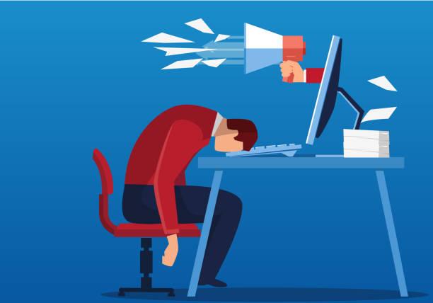ilustrações de stock, clip art, desenhos animados e ícones de businessman working too tired to sleep - furioso