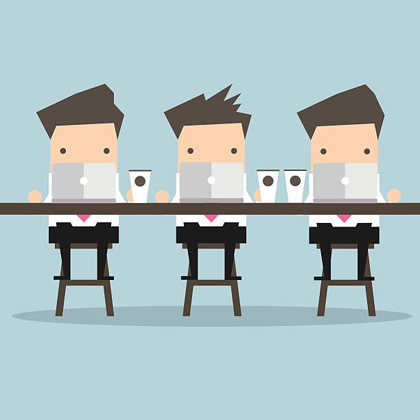 bildbanksillustrationer, clip art samt tecknat material och ikoner med businessman working with laptop at coffee bar - man architect computer