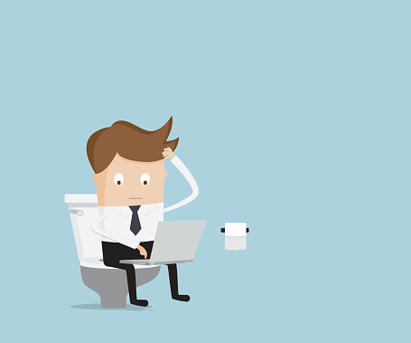 Businessman Working With Laptop In Toilet Stock Illustration - Download  Image Now - iStock