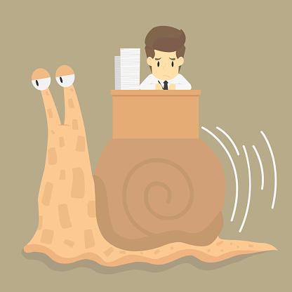 businessman works slowly like snail