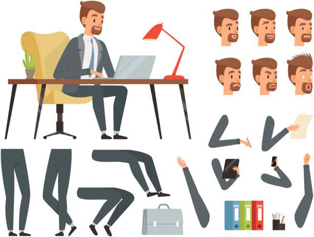 ilustrações, clipart, desenhos animados e ícones de espaço de trabalho do empresário. kit de criação do vetor mascote. vários quadros-chave para animação de personagens de negócios - landscape creation kit