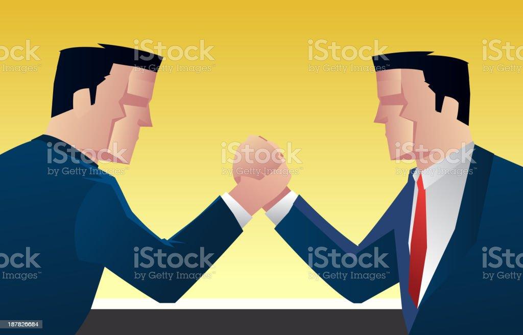 Businessman wrestling vector art illustration