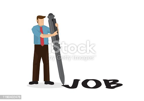 Businessman writes job word with his giant pen. Concept of recruitment or job hunting. Flat isolated vector illustration.