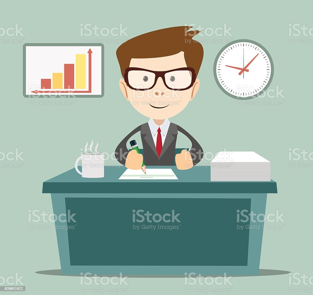 Businessman writing a business plan, tax letter, vector art illustration