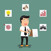 businessman writing on clipboard or document checklist with strategy icons, vector illustration.
