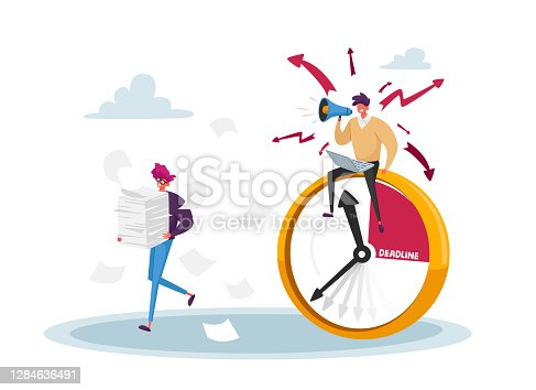 istock Businessman Yelling in Loudspeaker on Office Employee Working with Paper Documents. Boss Hurry Worker with Job, Deadline 1284636491