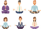 Businessman yoga. Man and woman relaxing meditation at workspace table vector concept cartoon illustration. Pose yoga, relax and meditation