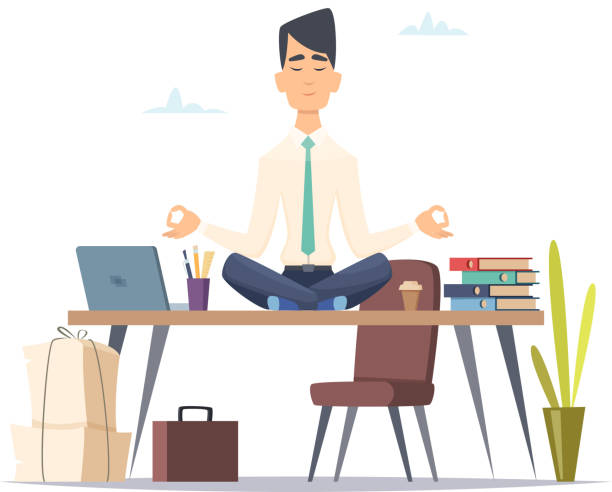 businessman yoga meditation. office relax in stressed work busy man sitting in lotus yoga practice at workspace vector concept - wellness stock illustrations