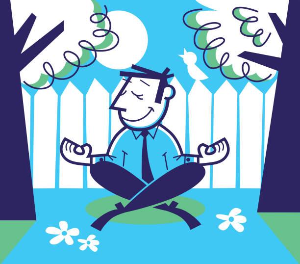 businessman yoga - peter bajohr stock illustrations
