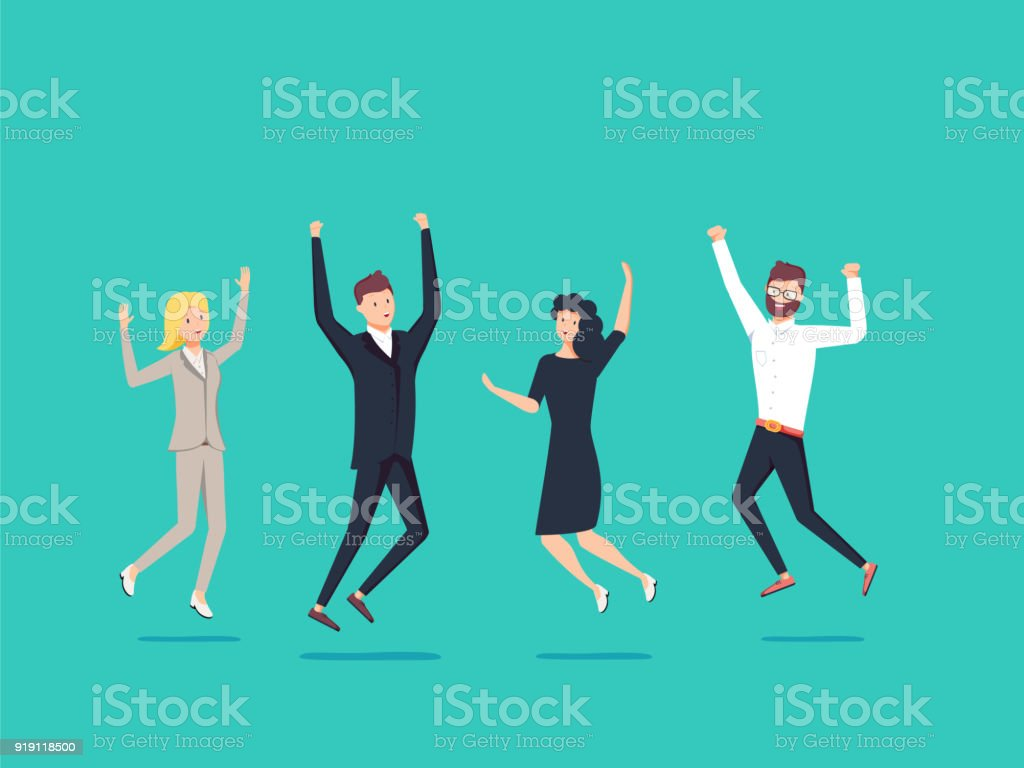 Businessmans and womans jump with happiness together. Business victory celebrating. vector art illustration