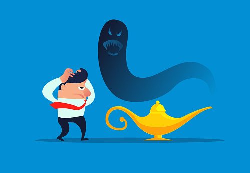 Businessman's bad luck, the devil comes out of Aladdin's lamp