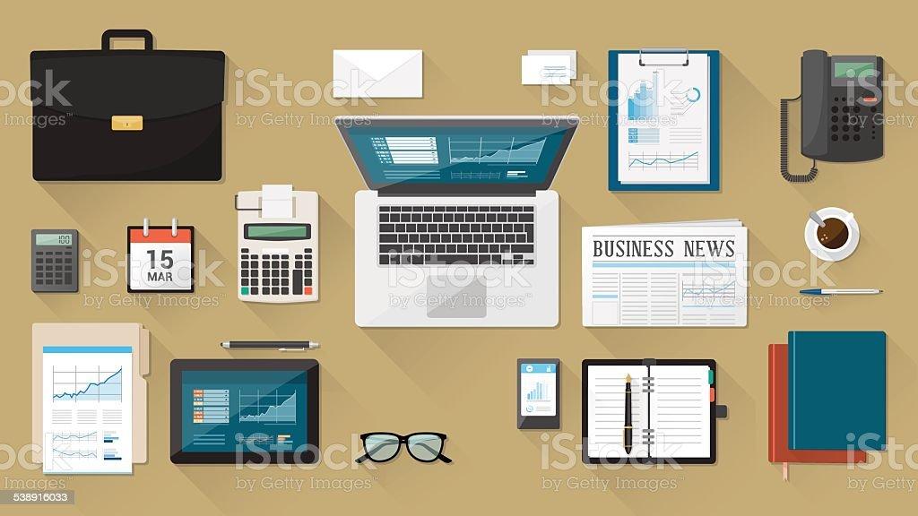 Businessman's desk vector art illustration