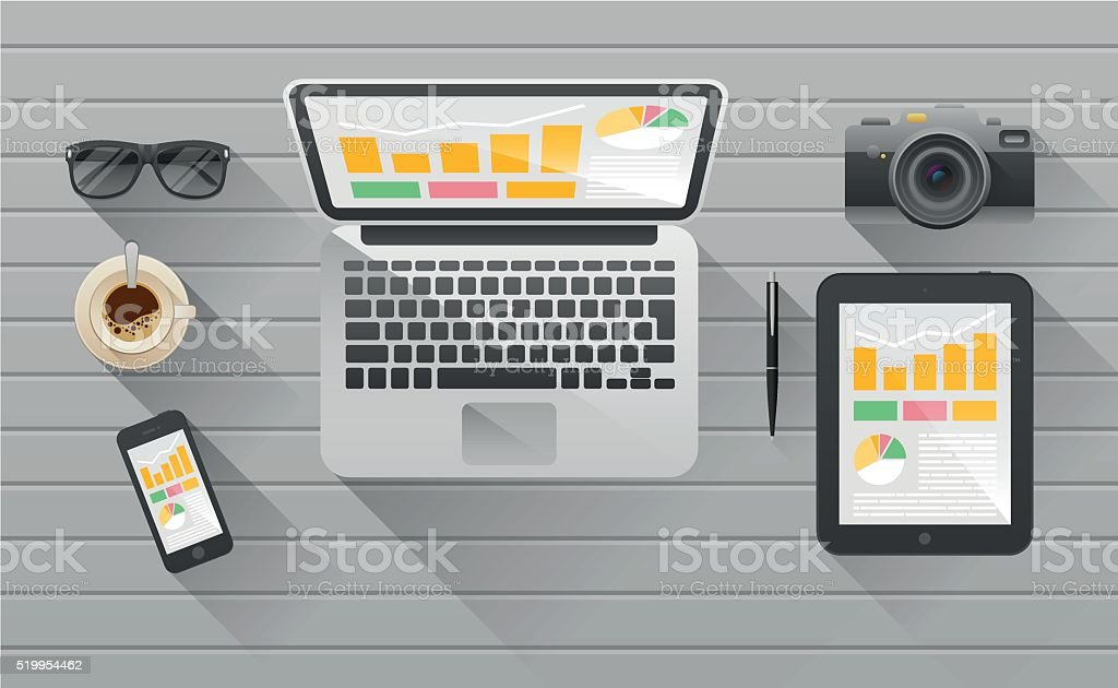 Businessman's desk with laptop, tablet,  smart phone and stationery vector art illustration