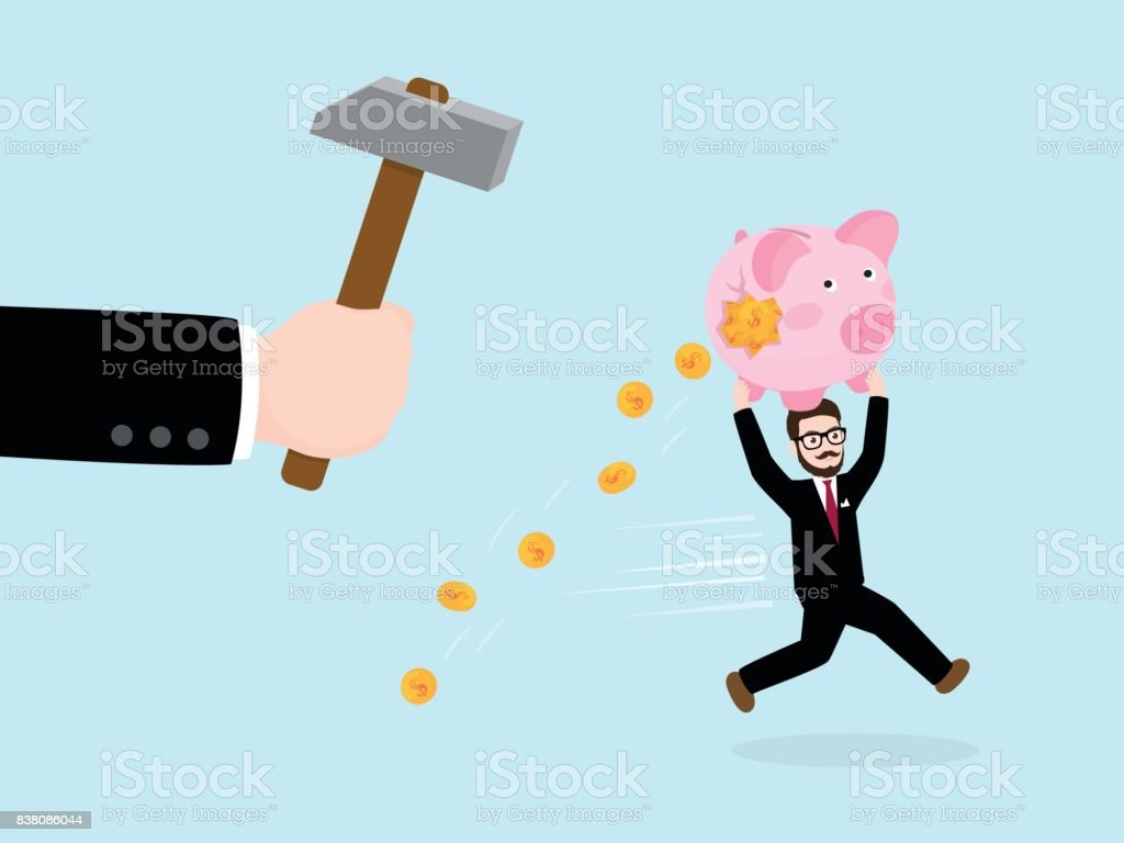 Businessman's Hand Hold Hammer Try to Break Piggy Bank vector art illustration