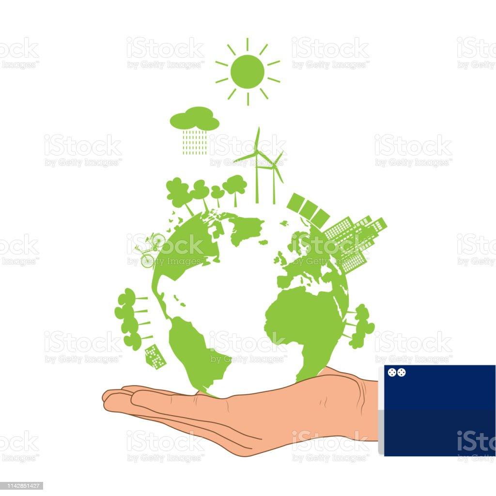 Businessman\'s hand holding green earth, environmental concept vector...