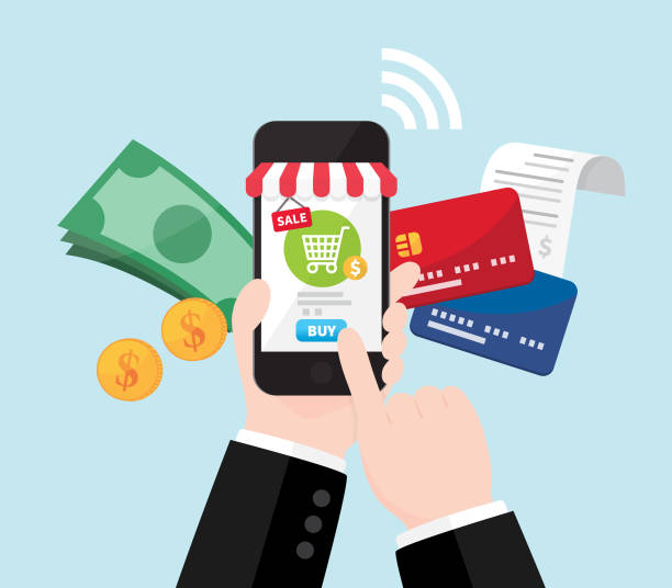 Businessman's hand shopping online by cash and credit card, Online store on smartphone with striped awning, Mobile payment Businessman's hand shopping online by cash and credit card, Online store on smartphone with striped awning, Mobile payment online shopping stock illustrations