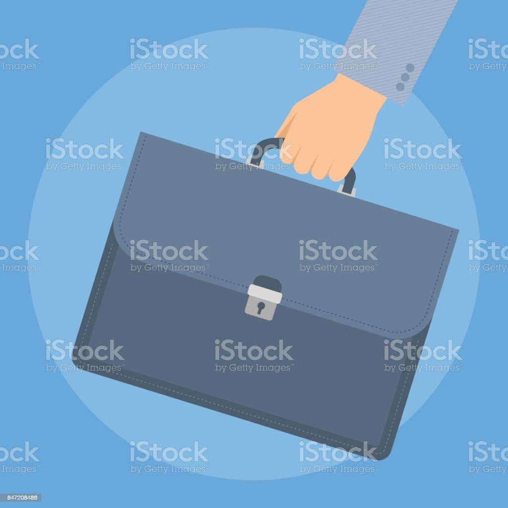 Das Unternehmer Hand mit Aktenkoffer. – Vektorgrafik