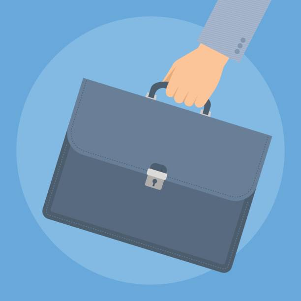 Businessman's hand with briefcase. vector art illustration