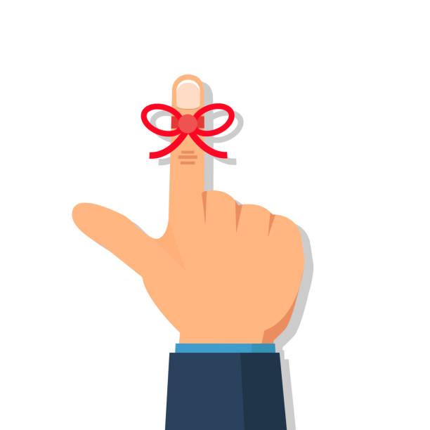 businessman's hand with reminder string  on finger. vector illustration. - reminder stock illustrations