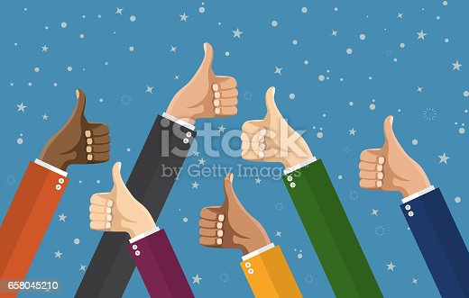 Businessmans hands hold thumbs up. vector illustration in flat design. Financials, work motivation