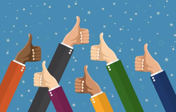 Businessmans hands hold thumbs up. vector art illustration
