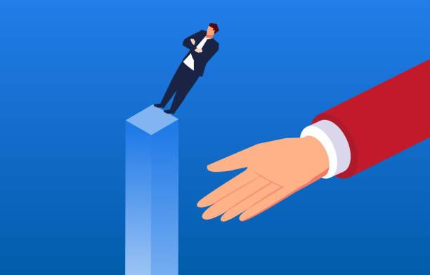 businessman's mutual trust - trust stock illustrations