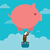 Businessman's Piggy Bank Hot Air Balloon Outlook   New Business