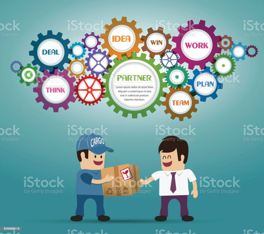 Businessmans take an cargo package royalty-free businessmans take an cargo package stock vector art & more images of adult