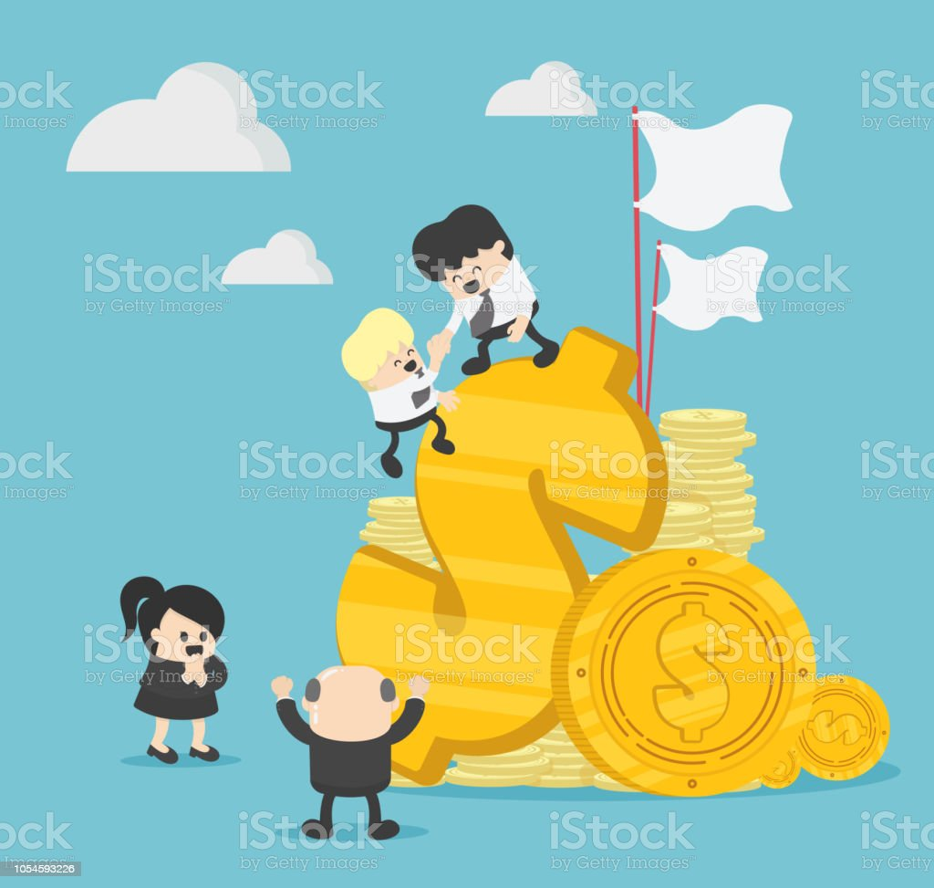 businessman's teamwork graphics, the company is engaged in teamwork, raising a career to success vector art illustration