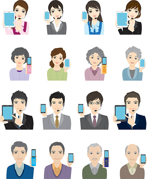 ilustrações de stock, clip art, desenhos animados e ícones de negócios-homem & mulher/rede - senior business woman tablet