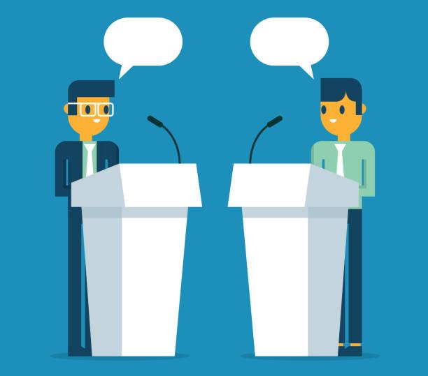 Businessmen a speaking at podium vector art illustration